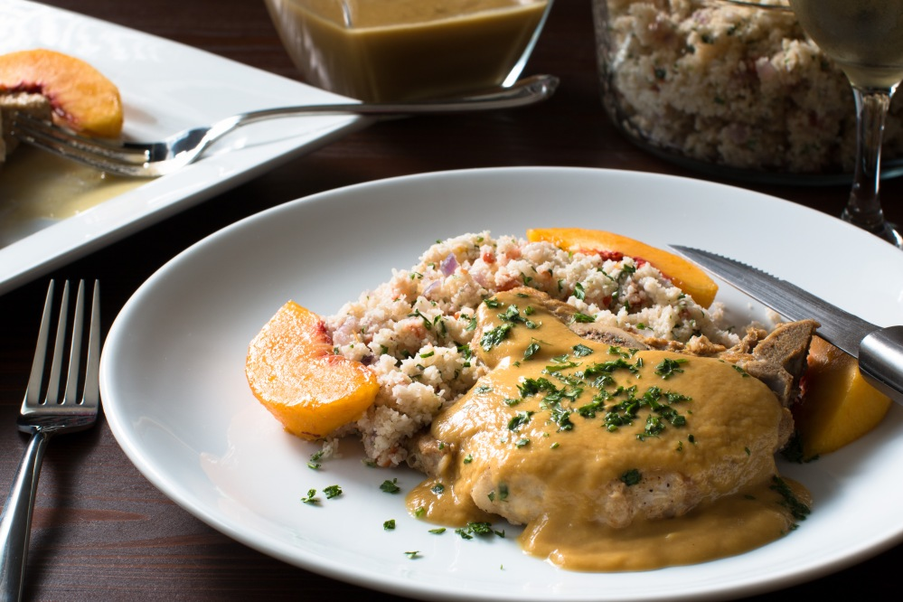 braised-prok-chops-smothered-in-peach-gravy-with-cauliflower-couscous-8804