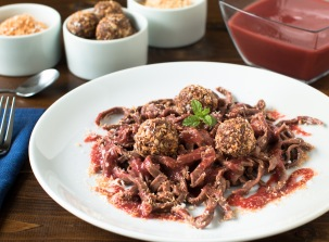 chocolate-whole-wheat-linguini-raspberry-sauce-and-toasted-coconut-cashew-and-peanut-nut-balls-9971