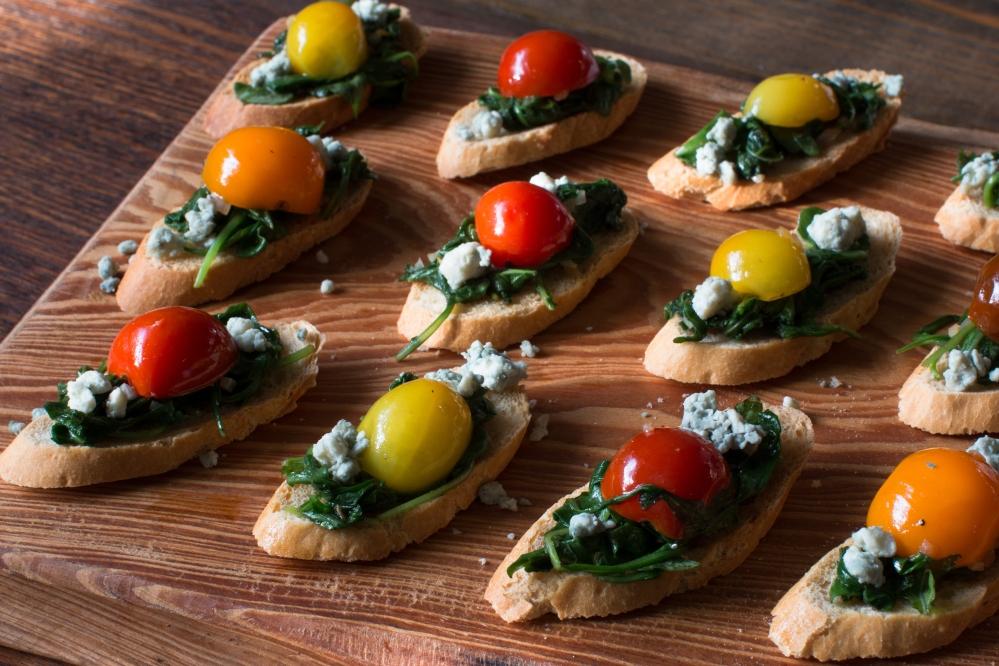 sauteed-arugula-and-heirloom-cherry-tomato-bruschetta-with-blue-cheese-crumbles-1970
