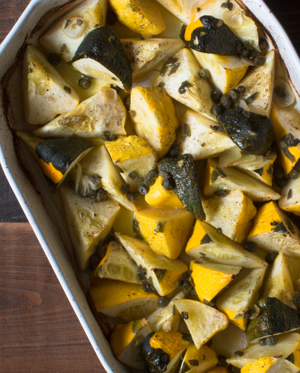 Roasted patty pan squash with sage and garlic butter, with Florida meyer lemon juice and capers lr-8123