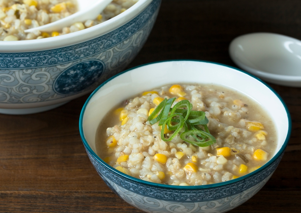 Duck stock, brown rice, and sweet corn congee hr-0170.jpg