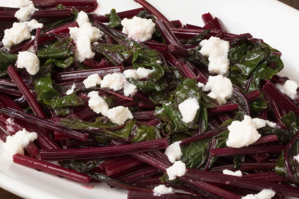 Sauteed beet greens with orange muscat champagne vinaigrette and Greek feta hr-8146