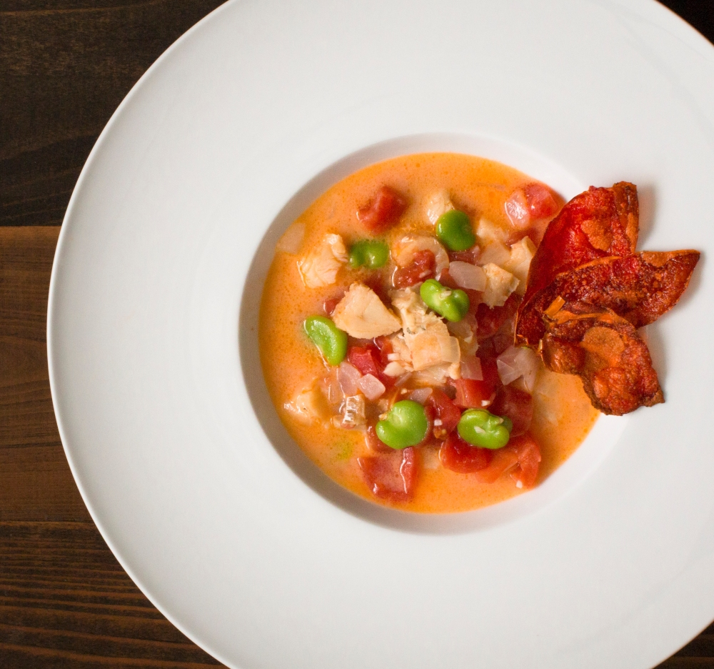 Chamorro-style bacalao stew with coconut milk, tomatoes, and fava beans-0476-2