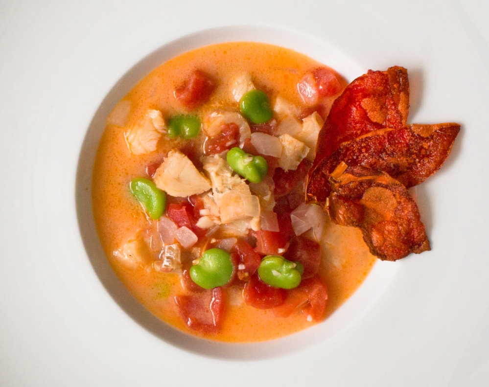 Chamorro-style bacalao stew with coconut milk, tomatoes, and fava beans-0476-3