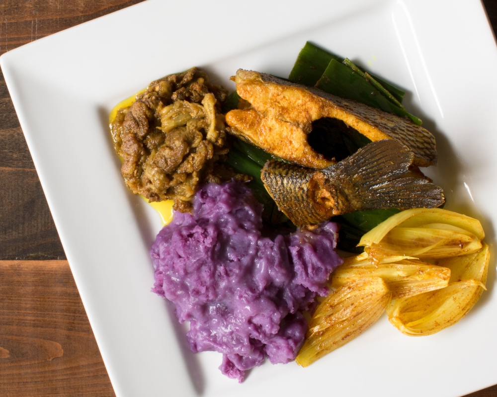 Ube in coconut milk with tilapia, eggplant and onion escabeche-8075